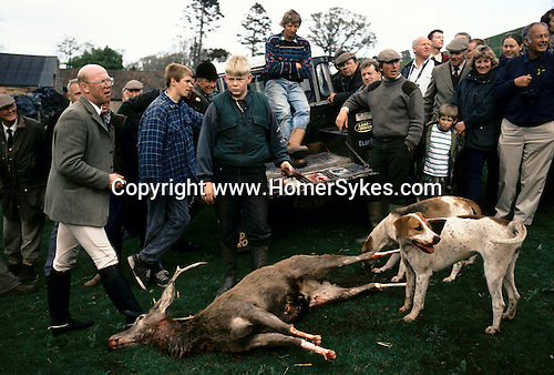 Quantock Hills, Somerset. 1997<br /> Quantock Stag Hounds hunt followers survey the scene.  The feet are taken as a trophy, the quarry will be disemblowled and the entrails fed to the hounds.  After a long  hunt, the exhausted the stag was brought to bay by the hounds, who are trained not to touch the quarry. The stag was shot at close range by the gun carrier.