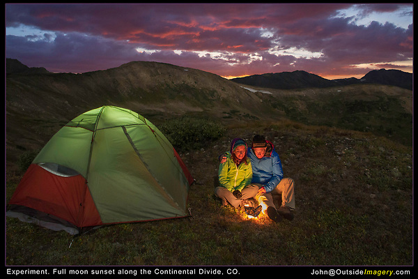 """Experiment!  Photos like this are pretty easy. <br /> The overall scene was lit by a rising full moon, John and Beth camping, Loveland Pass, Loveland Pass camping trip, campfire, camping, camping trip, dome tent, full moon, night lights, tent, which lasted just a few minutes due to cloud cover. A headlamp lit the tent. Our """"campfire"""" was a candle surrounded by aluminum foil. I used a tripod and a 7 second exposure. Photoshop was only used to lighten certain areas."""