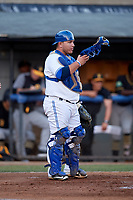 Bluefield Blue Jays catcher Alejandro Kirk (5) during a game against the Bristol Pirates on July 26, 2018 at Bowen Field in Bluefield, Virginia.  Bristol defeated Bluefield 7-6.  (Mike Janes/Four Seam Images)
