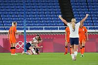YOKOHAMA, JAPAN - JULY 30: Samantha Mewis #3 of the United States celebrates scoring with Tobin Heath #7 during a game between Netherlands and USWNT at International Stadium Yokohama on July 30, 2021 in Yokohama, Japan.