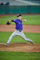 Colton Harlow (14) of the Grand Junction Rockies delivers a pitch during a game against the Ogden Raptors at Lindquist Field on September 7, 2018 in Ogden, Utah. The Rockies defeated the Raptors 8-5. (Stephen Smith/Four Seam Images)