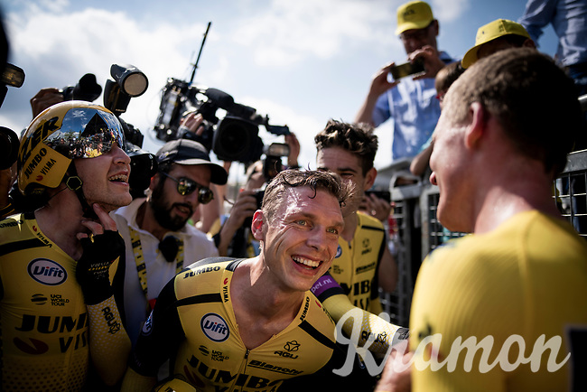 Last team to start is also the winning team at the finish; Team Jumbo-Visma wins the TTT and (almost) all of the jerseys > their post-finish joy is as high<br /> Big factor in the succes is multiple former TT World Champion Tony Martin (DEU/Jumbo-Visma)<br /> <br /> Stage 2 (TTT): Brussels to Brussels(BEL/28km) <br /> 106th Tour de France 2019 (2.UWT)<br /> <br /> ©kramon
