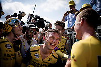 Last team to start is also the winning team at the finish; Team Jumbo-Visma wins the TTT and (almost) all of the jerseys > their post-finish joy is as high<br /> Big factor in the succes is multiple former TT World Champion Tony Martin (DEU/Jumbo-Visma)<br /> <br /> Stage 2 (TTT): Brussels to Brussels (BEL/28km) <br /> 106th Tour de France 2019 (2.UWT)<br /> <br /> ©kramon