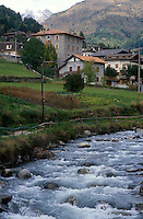 - Valtellina, mountain creek and village over Pontedilegno  ....- Valtellina, torrente di montagna e paese sopra Pontedilegno  ..
