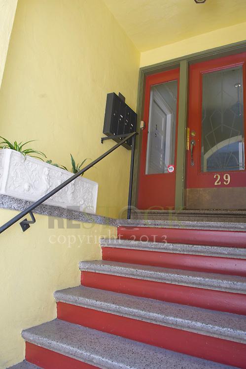 Front Steps with red door