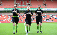 20150508 - LIEGE , BELGIUM : referees pictured with Joline Delcroix (right) , Lois Otte (middle) and Valerie Uyttersprot (left) during the soccer match between the women teams of Standard de Liege Femina and PSV Eindhoven , on the 26th and last matchday of the BeNeleague competition Friday 8 th May 2015 in Stade Maurice Dufrasne in Liege . PHOTO DAVID CATRY