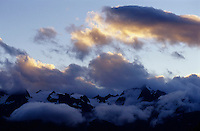 Sunset over the Barre des Ecrins and La Meije mountains in the French Alps, France.
