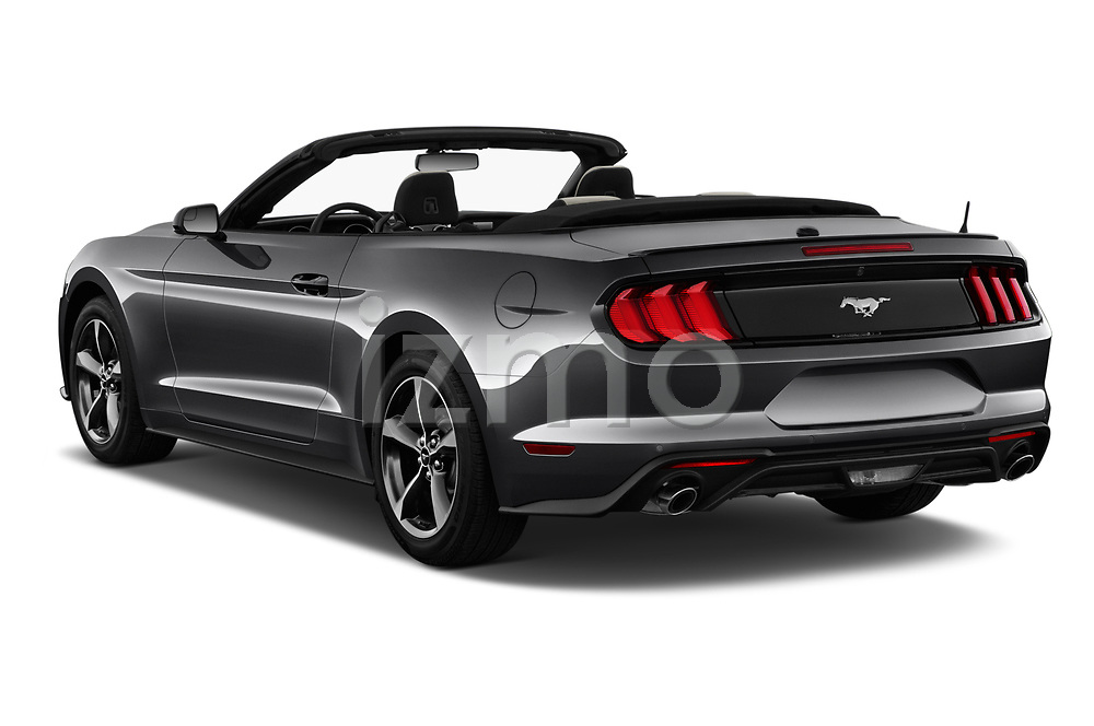 Car pictures of rear three quarter view of a 2019 Ford Mustang EcoBoost 2 Door Convertible angular rear