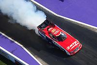 Apr. 28, 2012; Baytown, TX, USA: Aerial view of NHRA funny car driver Johnny Gray during qualifying for the Spring Nationals at Royal Purple Raceway. Mandatory Credit: Mark J. Rebilas-