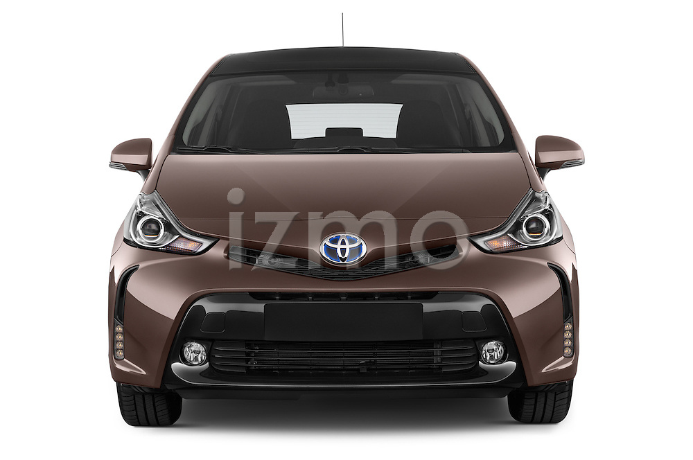 Car photography straight front view of a 2015 Toyota Grand Prius+ 5 Door Mini Van