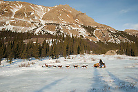 A team runs up an area called *the glacier* 11 miles after leaving the Rohn checkpoint during Iditarod 2009