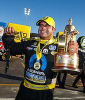 Feb 12, 2017; Pomona, CA, USA; NHRA funny car driver Matt Hagan celebrates after winning the Winternationals at Auto Club Raceway at Pomona. Mandatory Credit: Mark J. Rebilas-USA TODAY Sports