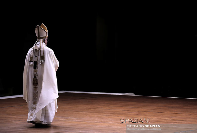 Pope Francis from the front of the basilica of St. Peter blesses the faithful after celebrating Mass in February. 2, 2016.