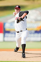 Starting pitcher Phil Negus #45 of the Kannapolis Intimidators in action against the Delmarva Shorebirds at Fieldcrest Cannon Stadium on August 7, 2011 in Kannapolis, North Carolina.  The Intimidators defeated the Shorebirds 8-3.   (Brian Westerholt / Four Seam Images)