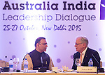 26 October 2015, New Delhi, India : Andrew  Robb, AO, Minister for Trade and Investment with Minister of State for Finance, Mr Jayant Sinha, and AILD Delegates during his visit to India. Picture by Graham Crouch/DFAT