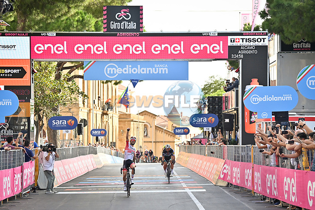 Diego Ulissi (ITA) UAE Team Emirates wins Stage 2 of the 103rd edition of the Giro d'Italia 2020 running 149km from Alcamo to Agrigento, Sicily, Italy. 4th October 2020.  <br /> Picture: LaPresse/Massimo Paolone | Cyclefile<br /> <br /> All photos usage must carry mandatory copyright credit (© Cyclefile | LaPresse/Massimo Paolone)