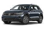 Stock pictures of low aggressive front three quarter view of 2021 Volkswagen Tiguan Elegance 5 Door SUV Low Aggressive