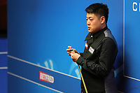 17th April 2021; Crucible Theatre, Sheffield, England; Betfred Snooker World Championships;  China's Liang Wenbo competes during the first round match between China's Liang Wenbo and Australia's Neil Robertson