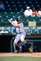 Bradenton Marauders designated hitter Cole Tucker (3) at bat during a game against the Charlotte Stone Crabs on April 9, 2017 at LECOM Park in Bradenton, Florida.  Bradenton defeated Charlotte 5-0.  (Mike Janes/Four Seam Images)