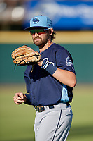 Charlotte Stone Crabs second baseman Zach Rutherford (15) during warmups before a Florida State League game against the Bradenton Marauders on July 30, 2019 at LECOM Park in Bradenton, Florida.  Charlotte defeated Bradenton 5-0.  (Mike Janes/Four Seam Images)