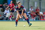 Mannheim, Germany, September 12: During the 1. Bundesliga women fieldhockey match between Mannheimer HC (blue) and Ruesselsheimer RK (red) on September 12, 2020 at Am Neckarkanal in Mannheim, Germany. Final score 2-0 (HT 1-0). (Copyright Dirk Markgraf / www.265-images.com) *** Lucina van der Heyde #2 of Mannheimer HC