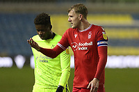 Joe Worrall of Nottingham Forest and Brice Samba of Nottingham Forest walk off afetr the full time whistle during Millwall vs Nottingham Forest, Sky Bet EFL Championship Football at The Den on 19th December 2020