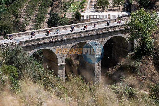 The breakaway during Stage 7 of La Vuelta d'Espana 2021, running 152km from Gandia to Balcon de Alicante, Spain. 20th August 2021.     <br /> Picture: Unipublic/Charly Lopez | Cyclefile<br /> <br /> All photos usage must carry mandatory copyright credit (© Cyclefile | Charly Lopez/Unipublic)