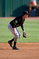 Bristol Pirates second baseman Chase Lambert (2) during a game against the Elizabethton Twins on July 28, 2018 at Joe O'Brien Field in Elizabethton, Tennessee.  Elizabethton defeated Bristol 5-0.  (Mike Janes/Four Seam Images)