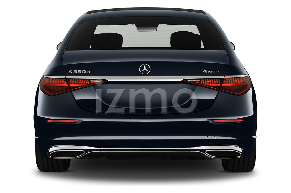 Straight rear view of 2021 Mercedes Benz S-Class S-350 4 Door Sedan Rear View  stock images