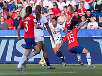 PARIS,  - JUNE 16: Christen Press #23 sprints past Su Helen Galaz #15 during a game between Chile and USWNT at Parc des Princes on June 16, 2019 in Paris, France.
