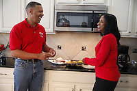 At home in the kitchen with John and Viv Ewing.