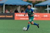 HARTFORD, CT - AUGUST 17: Danny Barrera #10 of Hartford Athletic looks to pass during a game between Charleston Battery and Hartford Athletic at Dillon Stadium on August 17, 2021 in Hartford, Connecticut.