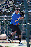 Lake Elsinore Storm shortstop Drew Cumberland of the California League All- Stars taking batting practice before the California League vs. Carolina League All-Star game held at BB&T Coastal Field in Myrtle Beach, SC on June 22, 2010.  The California League All-Stars defeated the Carolina League All-Stars by the score of 4-3.  Photo By Robert Gurganus/Four Seam Images
