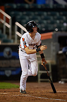 Aberdeen IronBirds Toby Welk (16) bats during a NY-Penn League game against the Vermont Lake Monsters on August 19, 2019 at Leidos Field at Ripken Stadium in Aberdeen, Maryland.  Aberdeen defeated Vermont 6-2.  (Mike Janes/Four Seam Images)