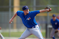 Toronto Blue Jays Josh DeGraaf (75) during a minor league Spring Training game against the Philadelphia Phillies on March 26, 2016 at Englebert Complex in Dunedin, Florida.  (Mike Janes/Four Seam Images)