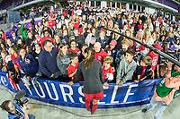 Orlando, FL - Wednesday March 07, 2018: Alex Morgan speaking with supporters during the She Believes Final Cup Match featuring USA Women's National Team vs. Englands Women's National Team