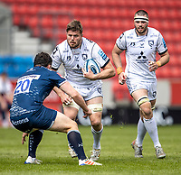 17th April 2021; AJ Bell Stadium, Salford, Lancashire, England; English Premiership Rugby, Sale Sharks versus Gloucester; sEd Slater of Gloucester Rugby is tackled by Cameron Neild of Sale Sharks