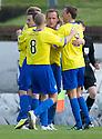 Morton's Peter Weatherson celebrates after he scores Morton's second goal ...