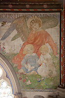 The chapel was decorated by the Birmingham Group of artists; William Bidlake, Charles March Gere and Henry Payne in the Arts and Crafts style. Two of the children of the Earl feature in this wall painting
