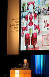 """October 27, 2016, Tokyo, Japan - Japanese electronics giant Hitachi president Toshiaki Higashihara introduces the company's humanoid robot Emiew3 as he delivers the keynote speech for the opening of the company's high tech exhibition """"Hitachi Social Innovation Forum"""" in Tokyo on Thursday, October 27, 2016. Hitachi exhibited their latest technology at a two-day convention.   (Photo by Yoshio Tsunoda/AFLO) LWX -ytd-"""