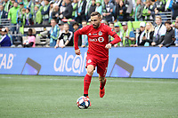SEATTLE, WA - NOVEMBER 10: Nicolas Benezet #7 of Toronto FC plays the ball during a game between Toronto FC and Seattle Sounders FC at CenturyLink Field on November 10, 2019 in Seattle, Washington.