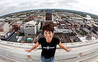 Colleen Leinen of West Des Moines, who has a longtime fear of heights, has decided to face her fear and rappel off the 25-story downtown Financial Building on September 22 as part of a Special Olympics fundraiser.