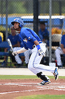 GCL Blue Jays outfielder Freddy Rodriguez (23) at bat during a game against the GCL Yankees 2 on July 2, 2014 at the Bobby Mattick Complex in Dunedin, Florida.  GCL Yankees 2 defeated GCL Blue Jays 9-6.  (Mike Janes/Four Seam Images)
