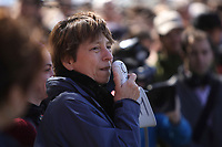 Montreal (QC) CANADA - April 17, 2012 - Francoise David, co-leader , Quebec Solidaire adress the crowd at a rallye