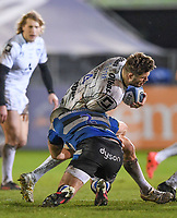 19th February 2021; Recreation Ground, Bath, Somerset, England; English Premiership Rugby, Bath versus Gloucester; Tom Dunn of Bath tackles Ed Slater of Gloucester