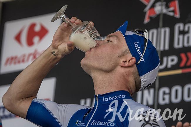 Bottoms up for (3rd finisher) Iljo Keisse (BEL/QuickStep Floors) on the podium<br /> <br /> 70th Halle Ingooigem 2017 (1.1)<br /> 1 Day Race: Halle > Ingooigem (201km)
