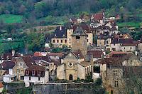 Dordogne, Perigord, Lot, France, Midi-Pyrenees, Autoire, Europe, Scenic view of the medieval village of Autoire.