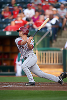 Frisco RoughRiders catcher Patrick Cantwell (3) at bat during a game against the Springfield Cardinals  on June 4, 2015 at Hammons Field in Springfield, Missouri.  Frisco defeated Springfield 8-7.  (Mike Janes/Four Seam Images)