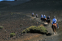 Male and female horseback riders along the trail in the crater of HALEAKALA NATIONAL PARK on Maui in Hawaii USA