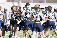 Heritage Hall Cooper Cooksin (44) celebrates a win with teammates, Thursday, July 15, 2021 during the Southwest Elite 7on7 tournament at Shiloh Christian in Springdale. Check out nwaonline.com/210716Daily/ for today's photo gallery. <br /> (NWA Democrat-Gazette/Charlie Kaijo)